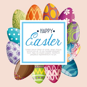 Decoração de ovos com mensagem de emblema para o evento de páscoa