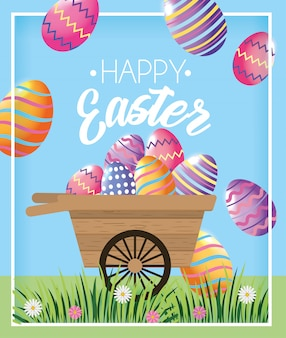 Decoração de ovos de páscoa dentro carrinho de mão para evento