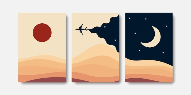 Decoração de paisagem boho com ilustração de avião dia e noite
