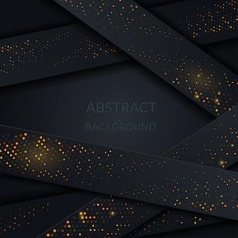 Decoração de papercut abstrato de fundo preto com camadas
