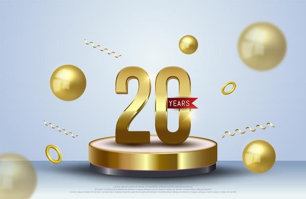 Decoração de pódio de 20 anos de comemoração de aniversário