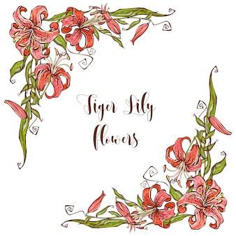 Decoração de quadro com flores de lírio. canto decorativo.