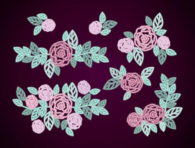 Decoração de rosas florais de néon