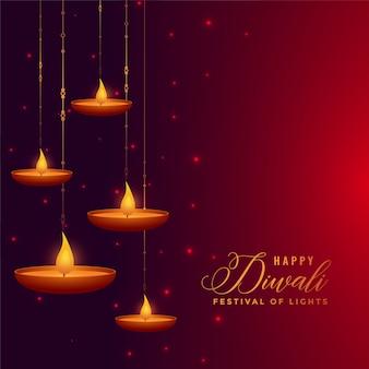 Decoração de suspensão bonita diya diwali