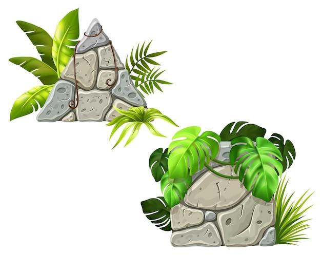 Decoração de tábuas de pedra, ramos de lianas e folhas tropicais