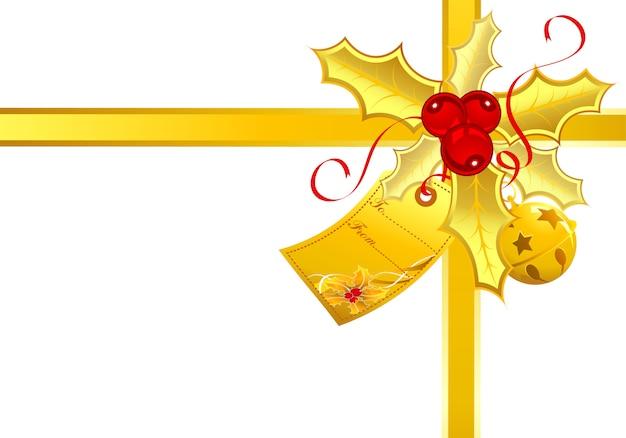 Decoração de tema de natal com fitas, sino e etiqueta