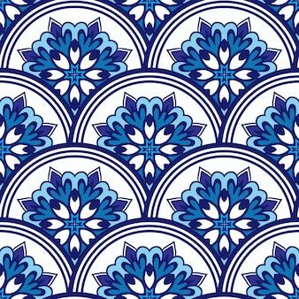 Decoração de textura de ladrilho estampado padrão oriental em mosaico com ornamento azul arabesco