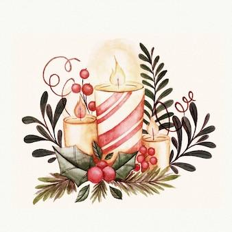 Decoração de velas de natal em aquarela