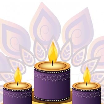 Decoração de velas indianas