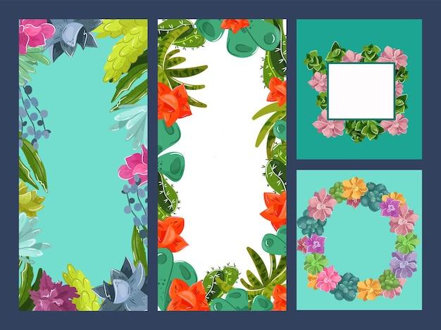 Decoração de verão floral arte em convite conjunto ilustração vetorial vintage ornamento decorativo para cartão n ...