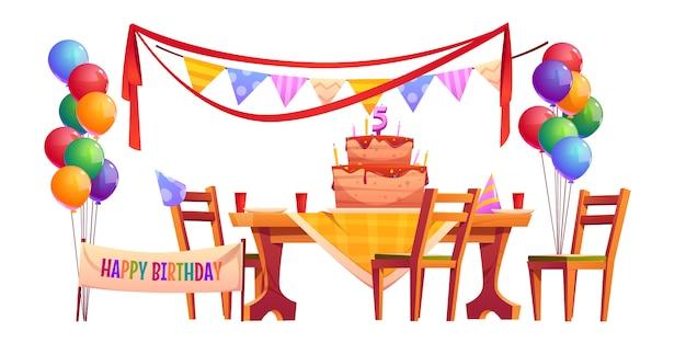 Decoração de vetor para festa de aniversário lá fora