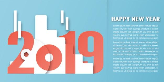 Decoração do ano novo feliz 2019 no fundo azul no ofício cortado e digital do papel.