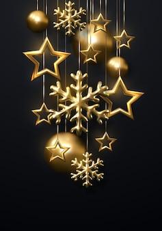 Decoração do feriado de ano novo de flocos de neve dourados com bolas de natal e estrelas em fundo preto