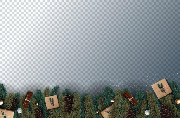 Decoração do feriado de natal com galhos de árvores e pinheiros e festão em transparente