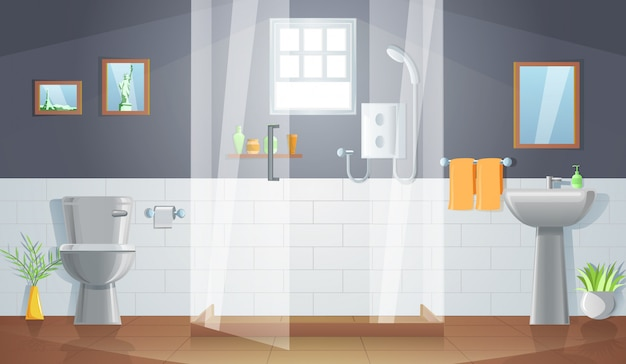 Decoração do quarto do banheiro com design gradiente