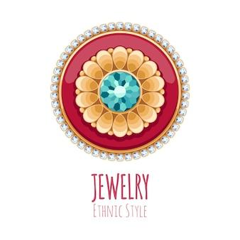 Decoração elegante de joias com gemas. vinheta floral étnica. bom para o logotipo da joalheria de moda.