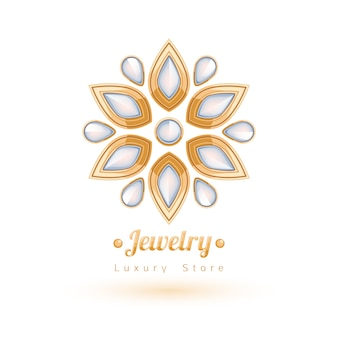Decoração elegante de joias com gemas. vinhetas florais étnicas. bom para o logotipo da joalheria de moda.
