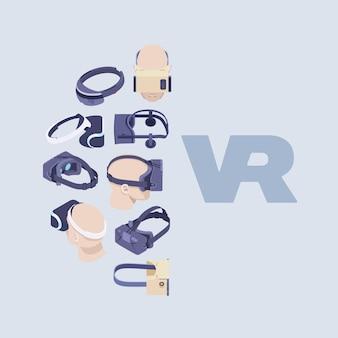 Decoração feita de fones de ouvido isométricos de realidade virtual