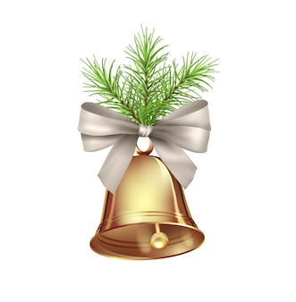 Decoração festiva de natal com galho de pinheiro