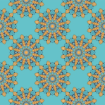 Decoração floral colorido mandala etnia padrão artístico ilustração vetorial design