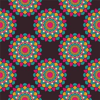 Decoração floral colorido mandala etnia padrão artístico ilustração vetorial design Vetor Premium