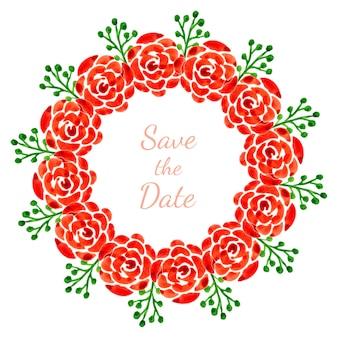Decoração floral com rosas. grinalda aquarela vetorial