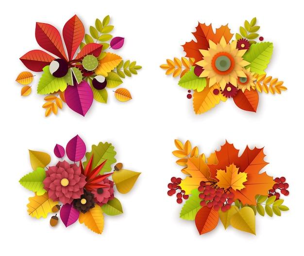 Decoração floral de outono com flores e folhas de corte de papel. conjunto de buquês de flores de outono. ilustração do estilo de arte em papel Vetor Premium