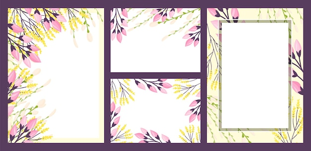 Decoração floral em cartões vintage verão arte vetorial ilustração fundo decorativo com moldura natureza ...