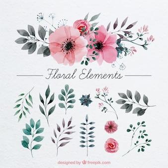Decoração floral pintados com aguarela