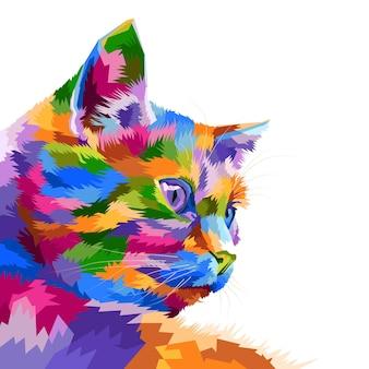 Decoração isolada do retrato da arte pop de gato colorido