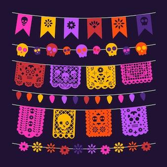 Decoração mexicana, papéis mexicanos, luzes e caveiras, decoração de bandeiras
