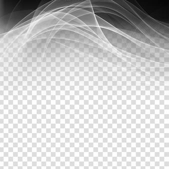 Decoração moderna transparente de onda cinza abstrata