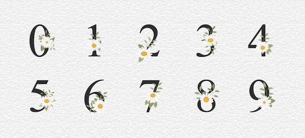Decoração numérica bonita para casamento com flores