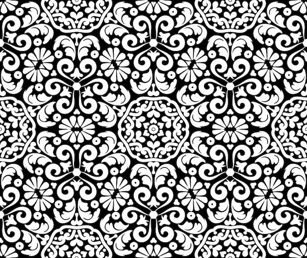 Decoração ornamentada floral padrão sem emenda ornamento de damasco floral vintage vetor preto e branco