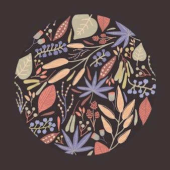 Decoração ou moldura circular composta de lindas folhas de outono, frutos e botões florais em preto