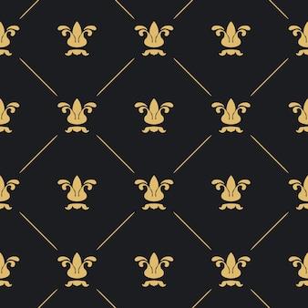 Decoração padrão sem emenda. fundo preto com elemento dourado.