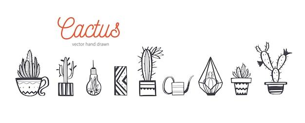 Decoração para casa e plantas de casa desenhadas à mão conjunto. cactus e design de interiores
