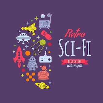 Decoração retrô de ficção científica