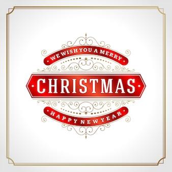 Decoração retro do cartão e ornamento do natal
