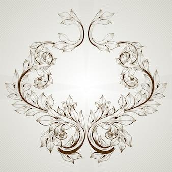Decoração, retro, folha, arte, emblema