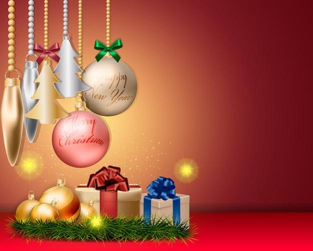 Decorações de bolas de natal e design de acessórios