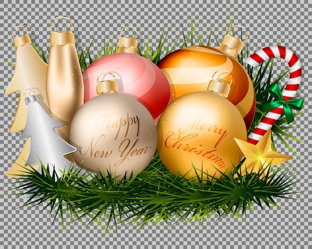 Decorações de bolas de ouro de natal e acessórios