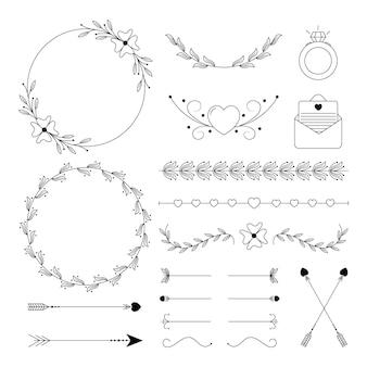 Decorações de casamento de design plano linear