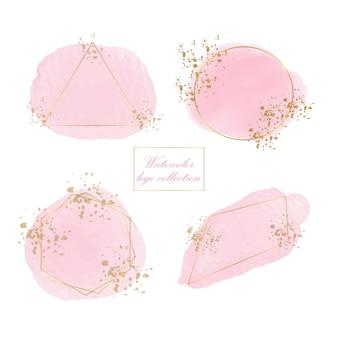 Decorações de coleção de logotipo em aquarela rosa e dourado