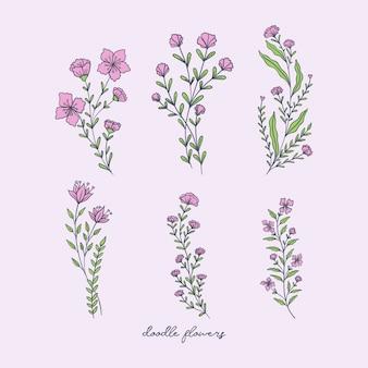 Decorações de flores doodle