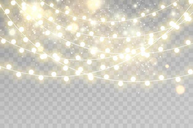 Decorações de guirlandas. luzes de natal isolaram elementos de design realista.