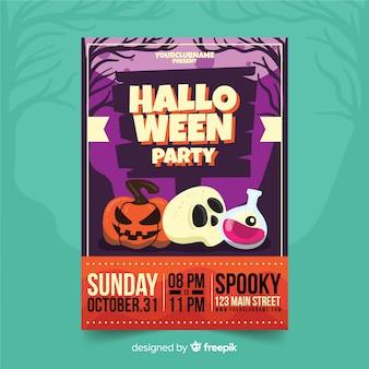 Decorações de halloween, panfleto de festa de halloween