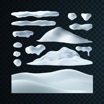 Decorações de inverno de gorros de neve, bola de neve e monte de neve isolados em fundo transparente