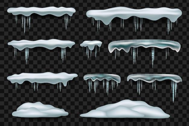 Decorações de inverno snowdrift isoladas.