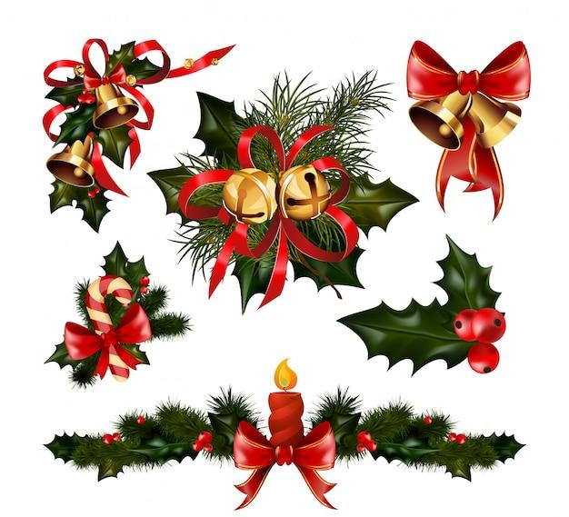 Decorações de natal com árvore de abeto e elementos decorativos
